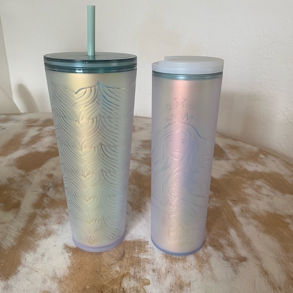 NWT Starbucks Soft Touch iridescent tumbler set